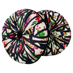 Pair of Round Pleated Throw Pillows by Christian Astuguevieille for Pierre Frey