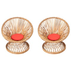 Pair of Round Rattan Chairs with Removable New Red Cushions, Style of Albini