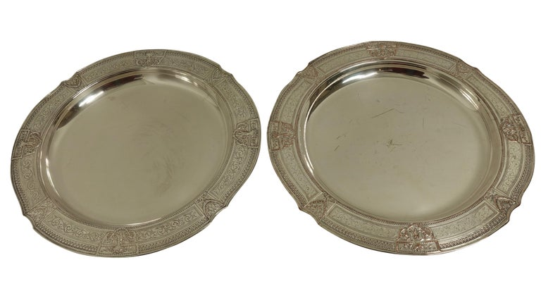 Neoclassical Pair of Round Silver Plate Trays E G Webster New York For Sale