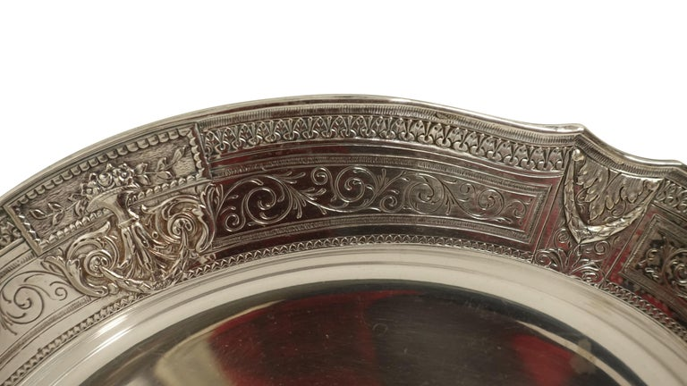 American Pair of Round Silver Plate Trays E G Webster New York For Sale