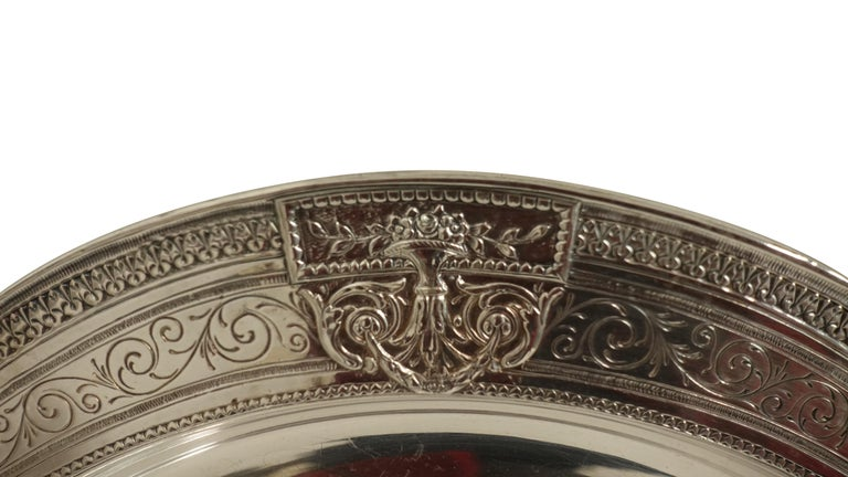 Polished Pair of Round Silver Plate Trays E G Webster New York For Sale