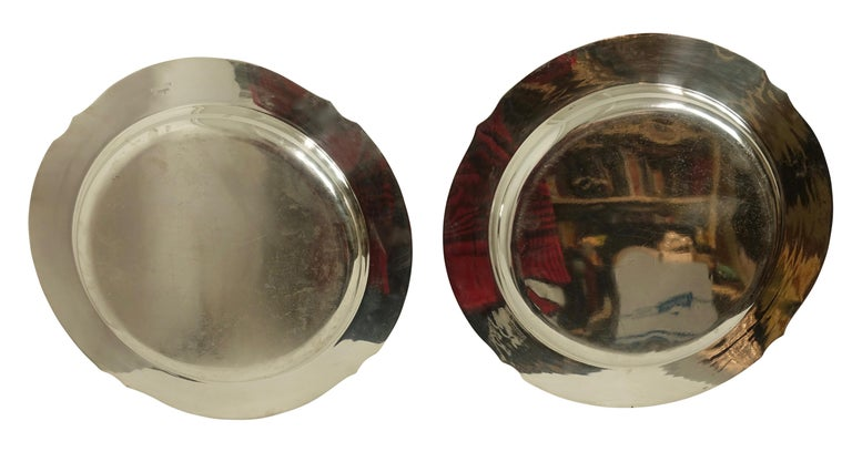 Pair of Round Silver Plate Trays E G Webster New York For Sale 1