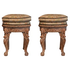 Pair of Round Stools, Sculpted Wood, Late 18th Century, France