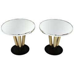 Pair of Round Tables in Brass, Mirror and Black Lacquer