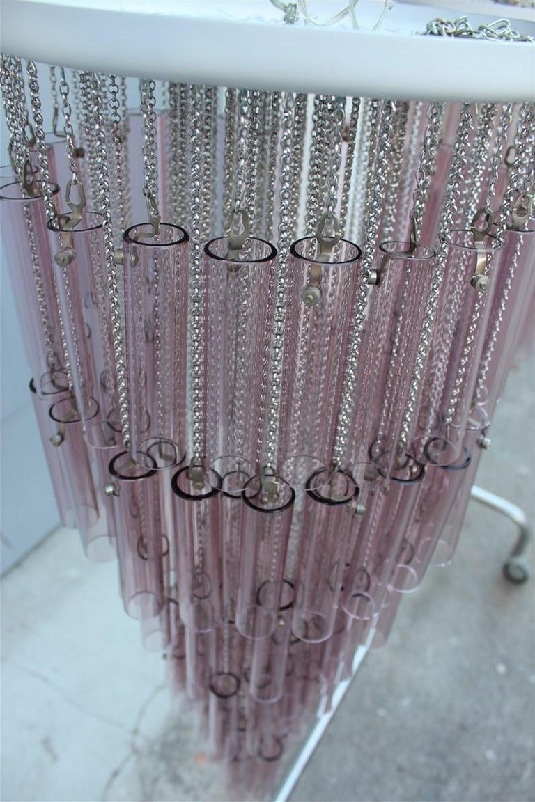 Pair of Round Venini Cascade Chandeliers Straws Violet Murano Glass Italian For Sale 2
