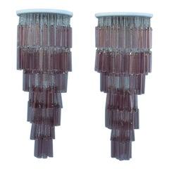 Pair of Round Venini Cascade Chandeliers Straws Viola Murano Glass Italian