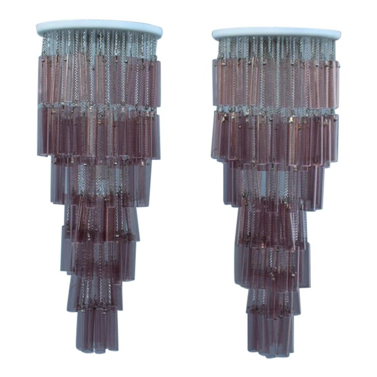 Pair of Round Venini Cascade Chandeliers Straws Violet Murano Glass Italian For Sale