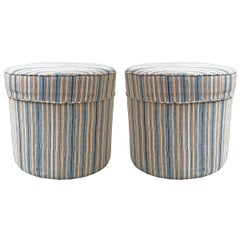 Pair of Round Vintage Kilim Upholstered Ottomans