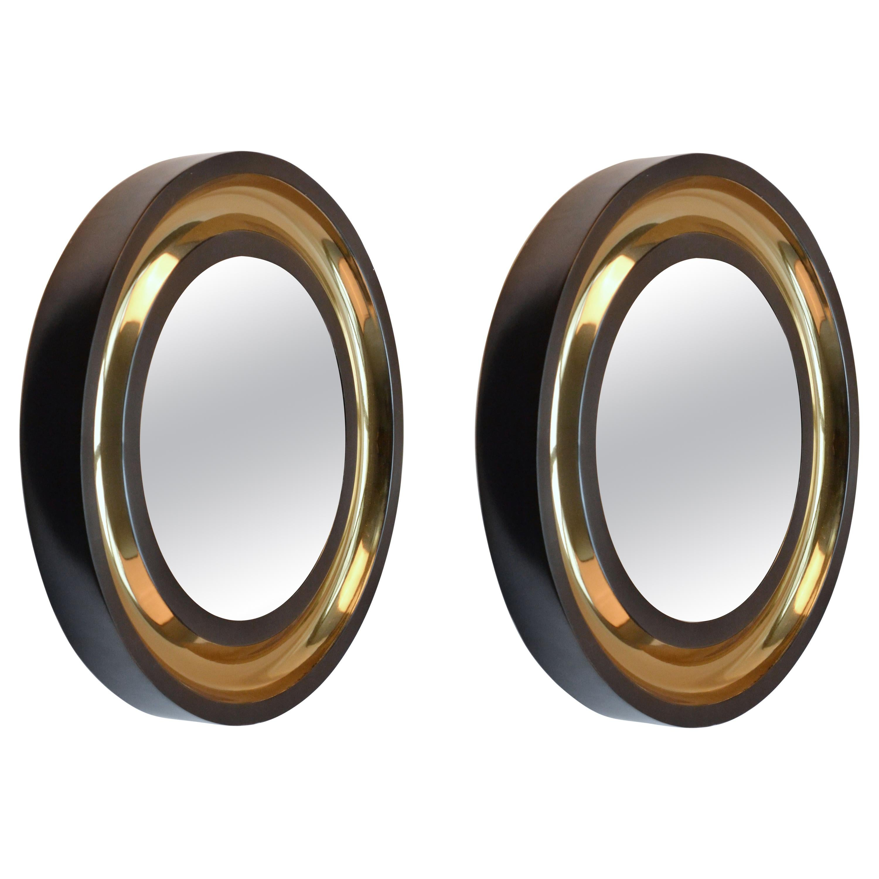 Pair of Round Wall Mirrors Patinated with Bronze Finish