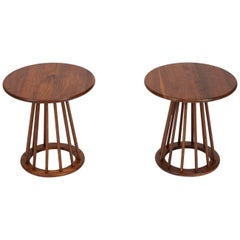 Pair of Round Walnut Side Tables by Arthur Umanoff for Washington Woodcraft