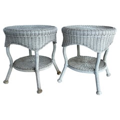 Pair of Round White Wicker Side Tables, Mid-Century Modern
