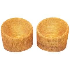 Pair of Round Wicker Chairs