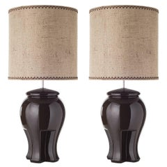 Pair of Rounded Ceramic Table Lamps