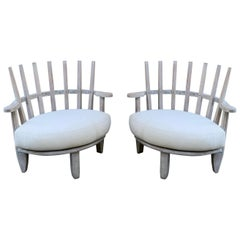 Pair of Rounded Slat Back Chairs