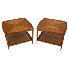 Pair of Rounded Square Shape Two Tier Walnut End Lamp Side Tables Stands