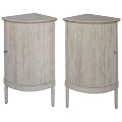 Pair of Rounded Swedish Corner Cabinets