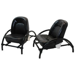 Pair of Rover Black Leather Armchairs by Ron Arad, UK, 1981
