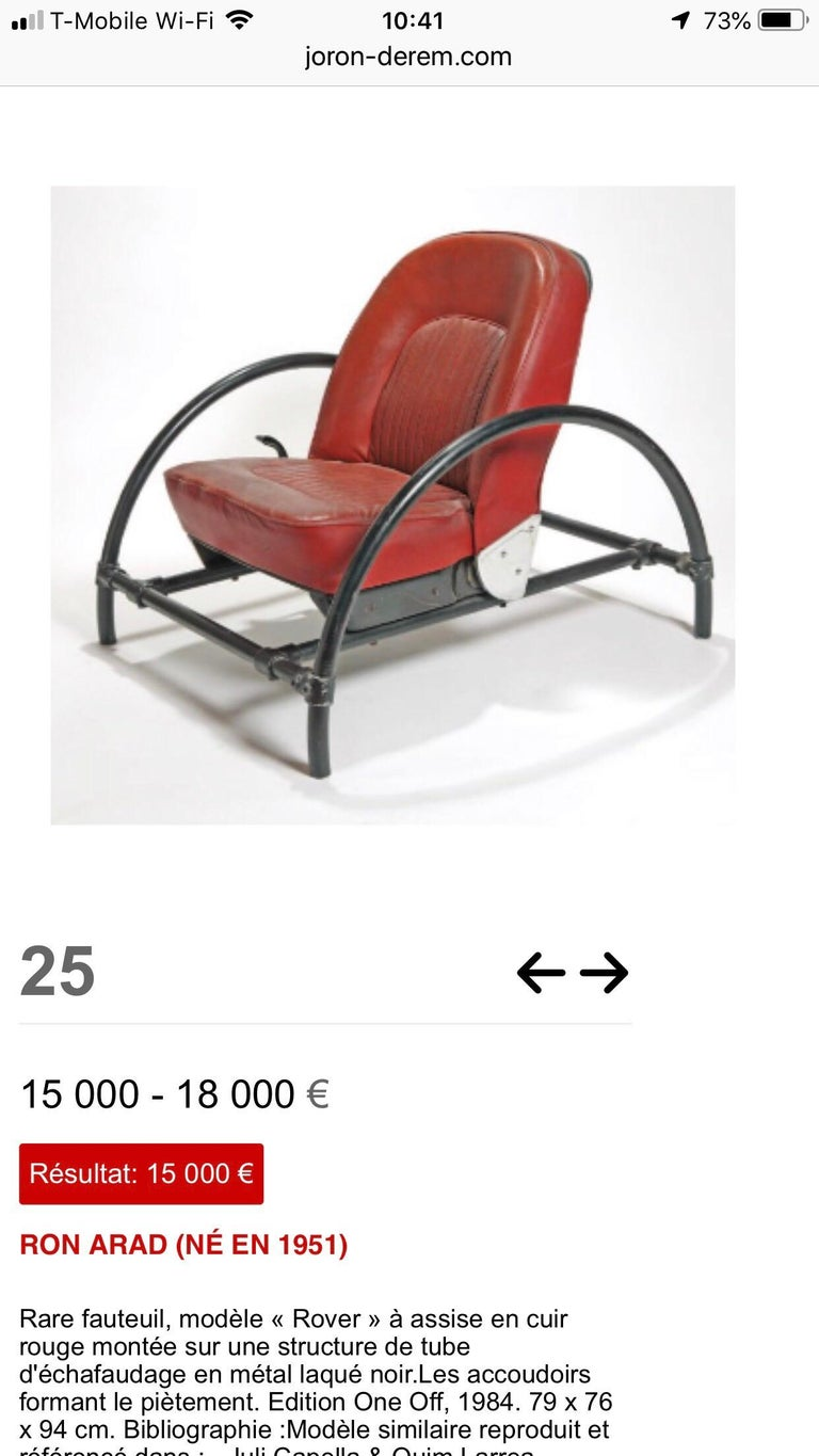 Pair of Rover Chairs by Ron Arad for One Off LTD For Sale 2