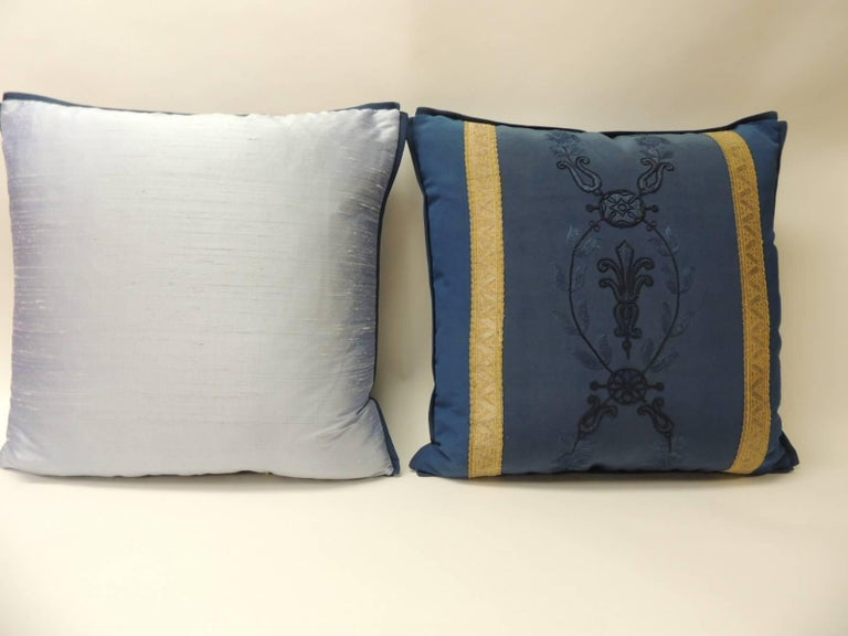 Regency Pair of Royal Blue Embroidery Antique Textile Decorative Pillows For Sale