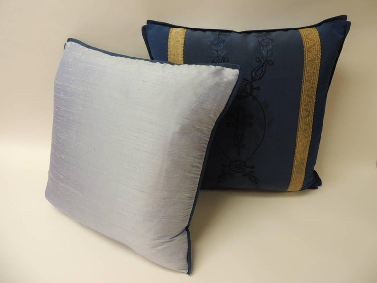 French Pair of Royal Blue Embroidery Antique Textile Decorative Pillows For Sale