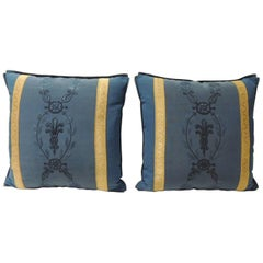 Pair of Royal Blue Embroidery Antique Textile Decorative Pillows