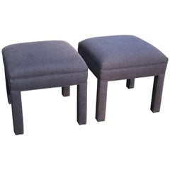 Pair of Royal Blue Upholstered Ottomans