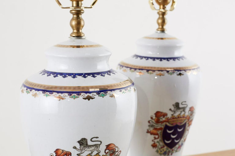 Pair of Royal Coat of Arms Porcelain Jar Table Lamps For Sale 3