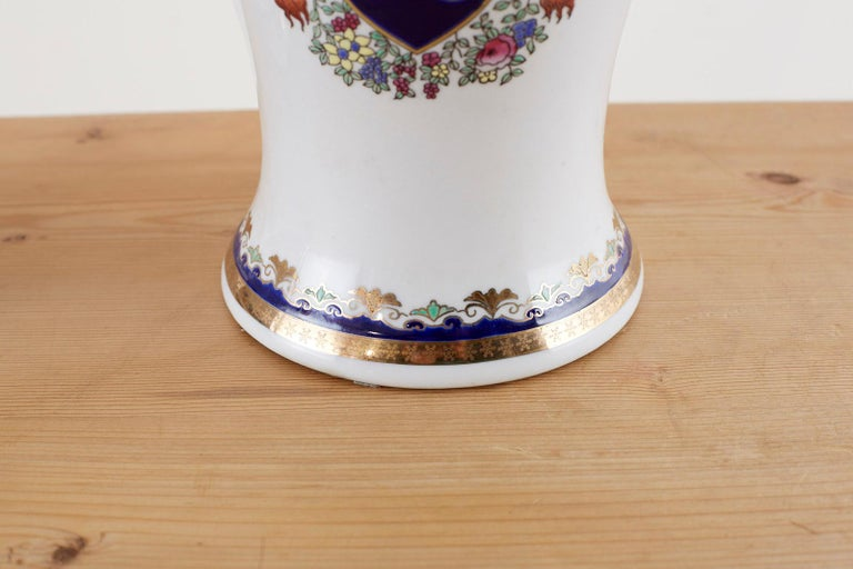 Regency Pair of Royal Coat of Arms Porcelain Jar Table Lamps For Sale