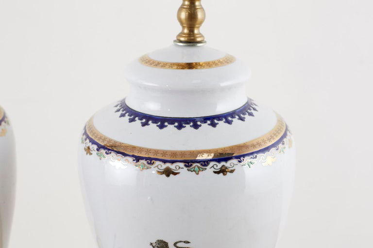 English Pair of Royal Coat of Arms Porcelain Jar Table Lamps For Sale