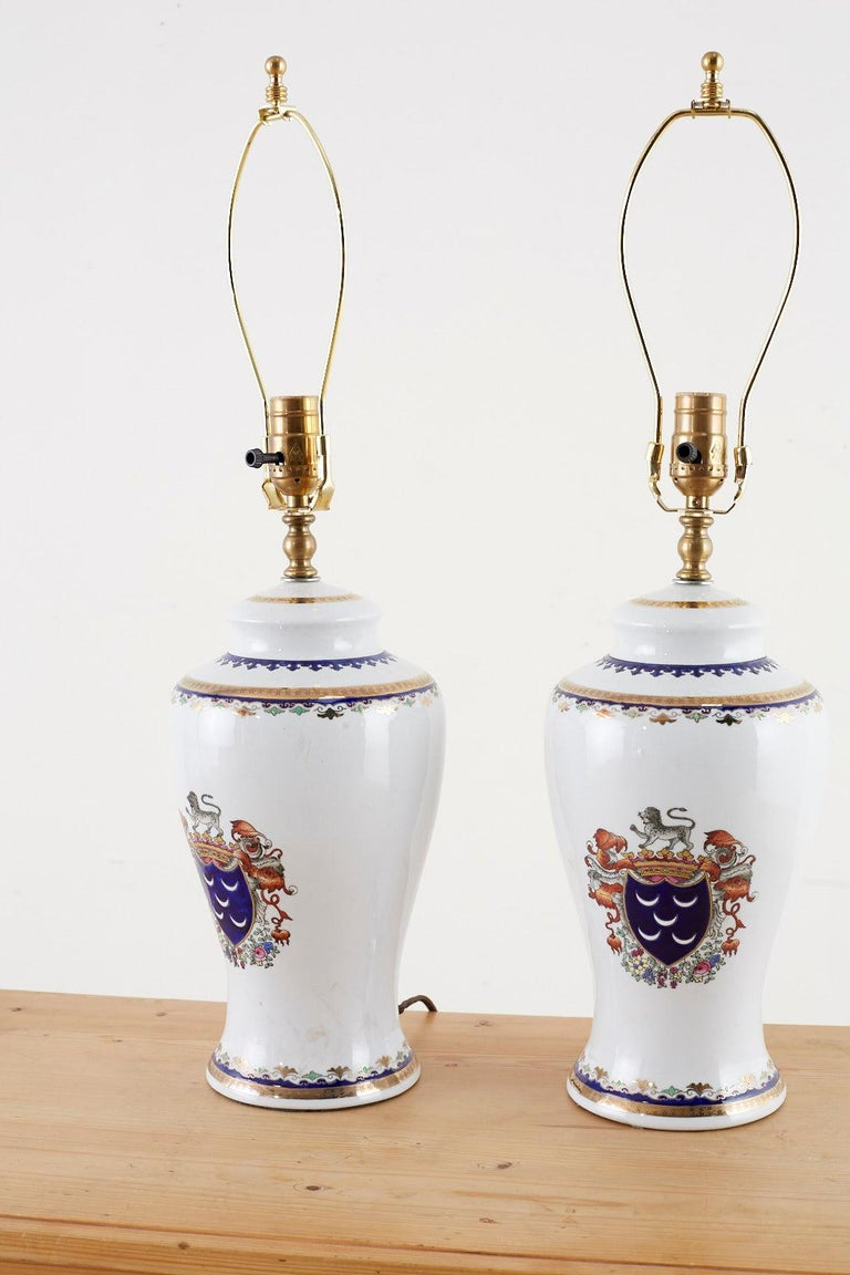 20th Century Pair of Royal Coat of Arms Porcelain Jar Table Lamps For Sale