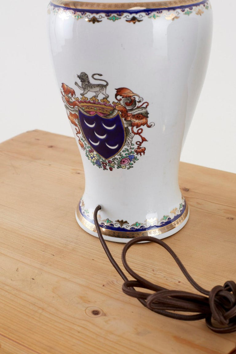 Pair of Royal Coat of Arms Porcelain Jar Table Lamps For Sale 1