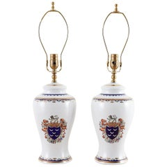 Pair of Royal Coat of Arms Porcelain Jar Table Lamps