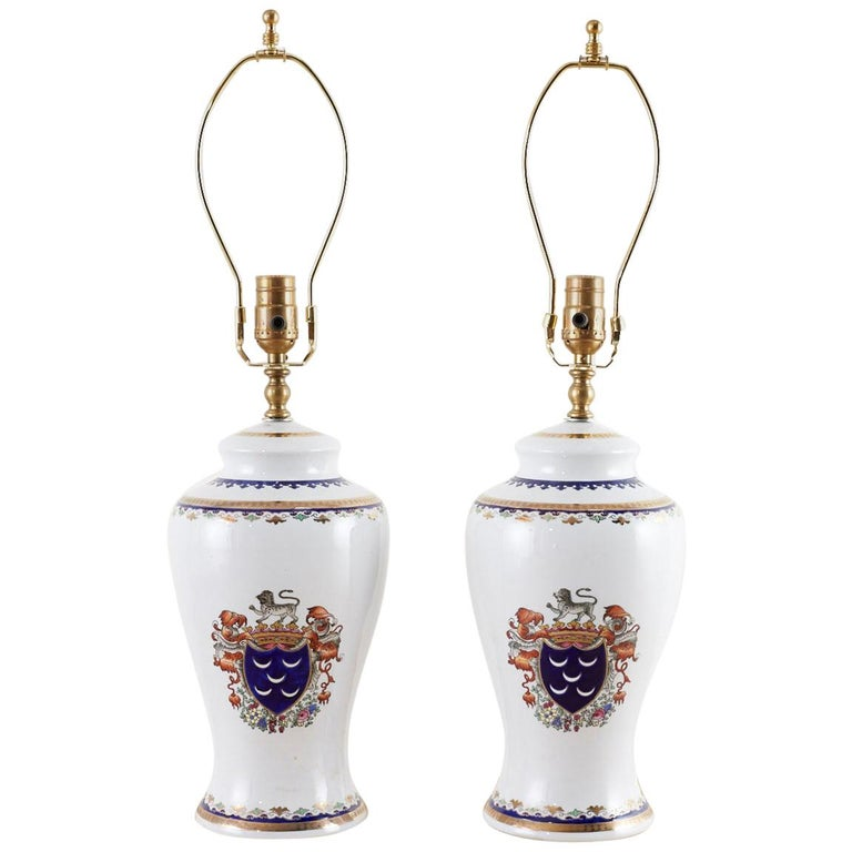 Pair of Royal Coat of Arms Porcelain Jar Table Lamps For Sale