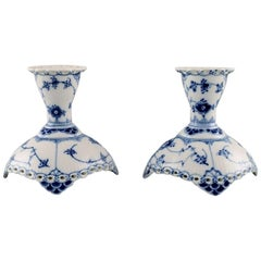 Pair of Royal Copenhagen Blue Fluted Full Lace Candleholders in Porcelain