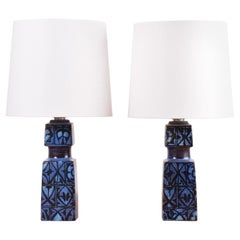 Pair of Royal Copenhagen Blue Table Lamps by Nils Thorsson, Danish Modern, 1970s