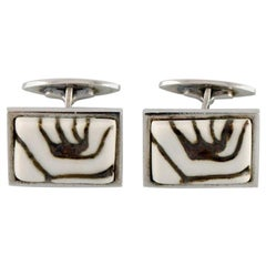 Pair of Royal Copenhagen Cufflinks in Sterling Silver and Porcelain, 1960s-1970s