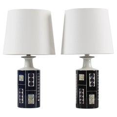 Pair of Royal Copenhagen Table Lamps by Inge-Lise Koefoed, Danish Ceramic, 1960s
