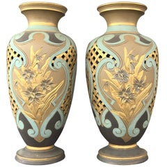 Pair of Royal Daulton Lambeth Silicon Ware Vases