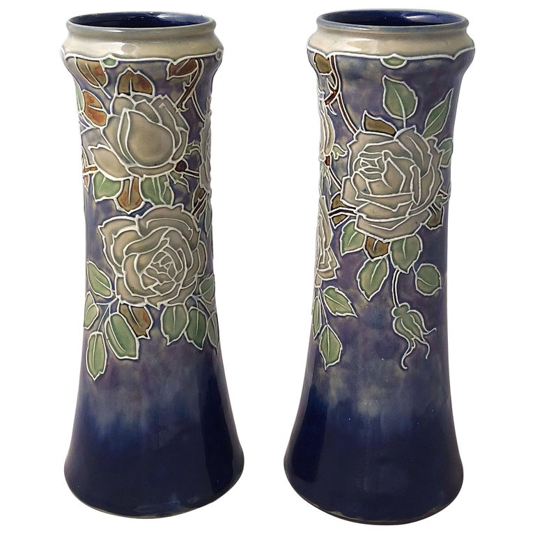 Pair of Royal Doulton Vases from the Arts & Crafts Period, 'Priced as a Pair' For Sale