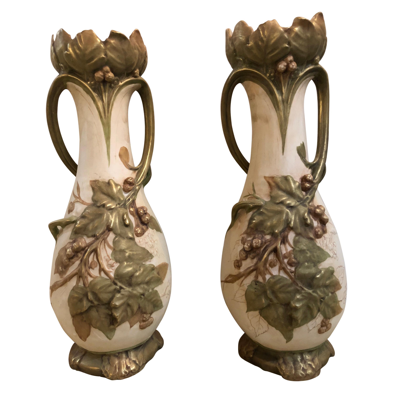Pair of Royal Dux Flower Vases or Centerpieces, Art Nouveau Era
