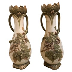 Pair of Royal Dux Flower Vases or Centerpieces, Art Nouveau Era