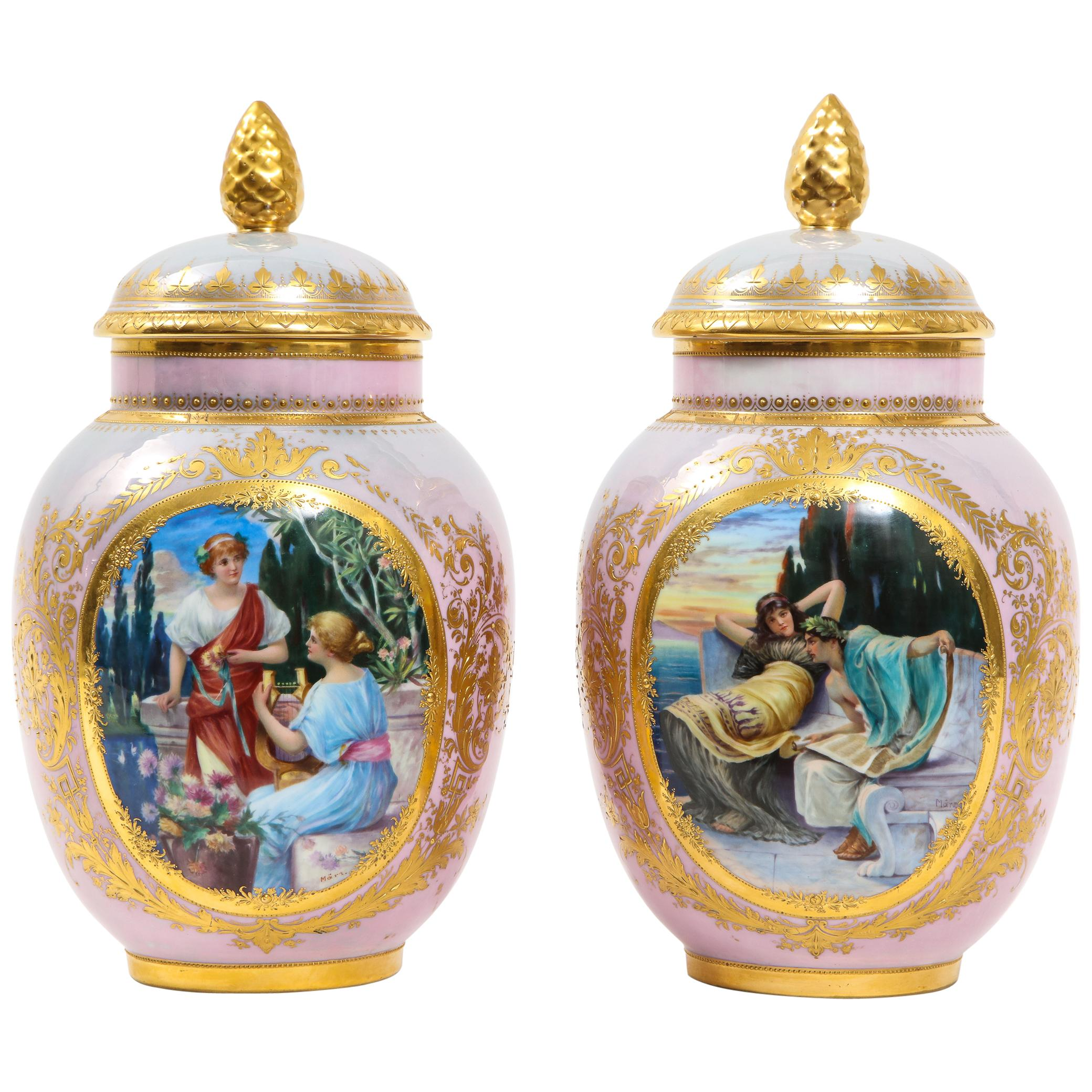 Pair of Royal Vienna Porcelain Iridescent Pink Vases with Neoclassical Scenes