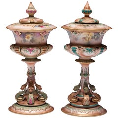 Pair of Royal Worcester Hadley Style Goblet Vases