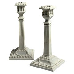 Pair of Royal Worcester Neoclassical Candlesticks