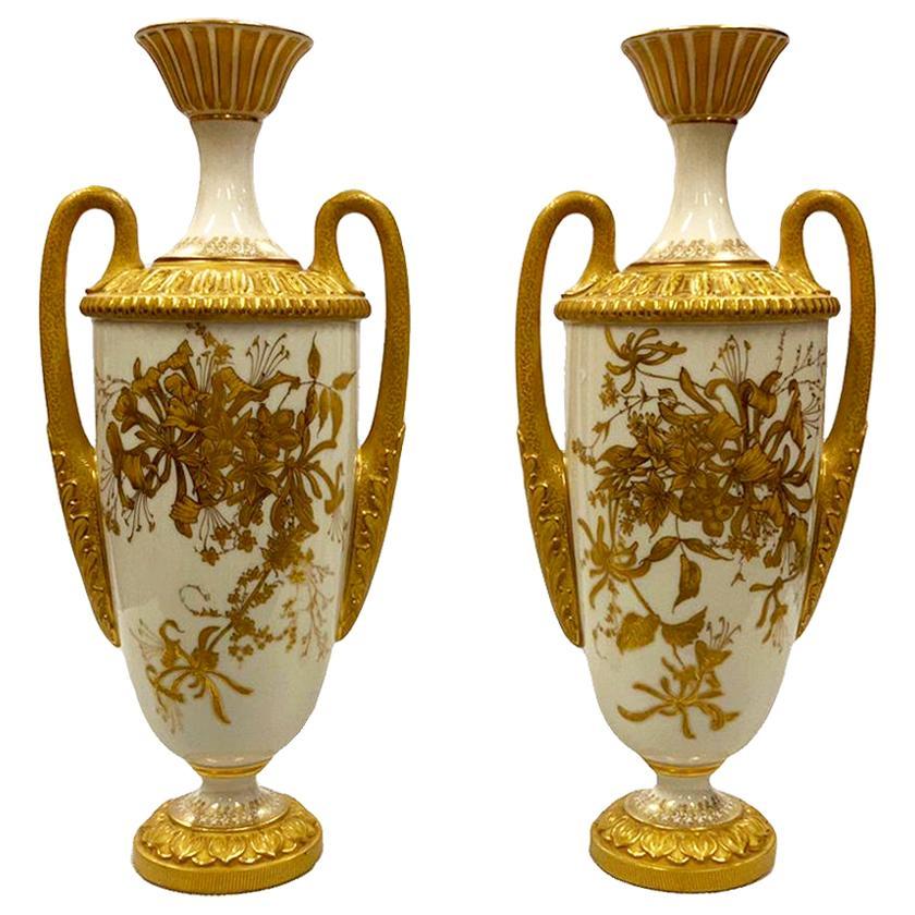 Pair of Royal Worcester Porcelain Vases, circa 1900