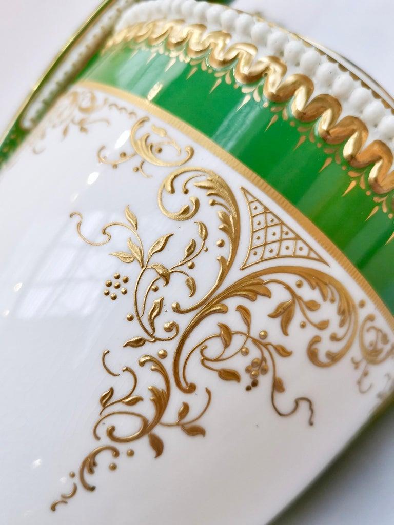 Royal Worcester 2 Porcelain Vases, Green Floral, Signed William Hawkins, 1907 For Sale 3