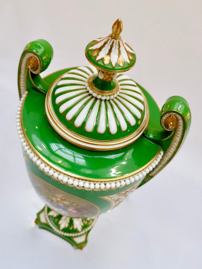 Royal Worcester 2 Porcelain Vases, Green Floral, Signed William Hawkins, 1907 For Sale 5