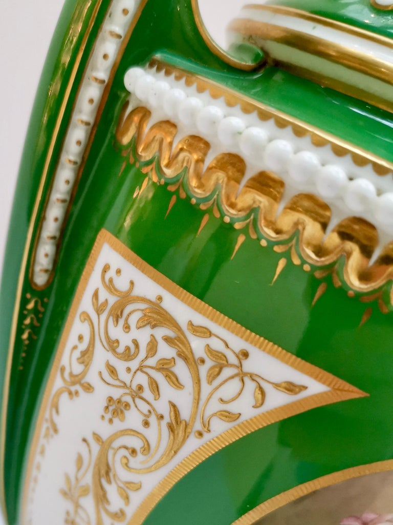 Royal Worcester 2 Porcelain Vases, Green Floral, Signed William Hawkins, 1907 For Sale 6