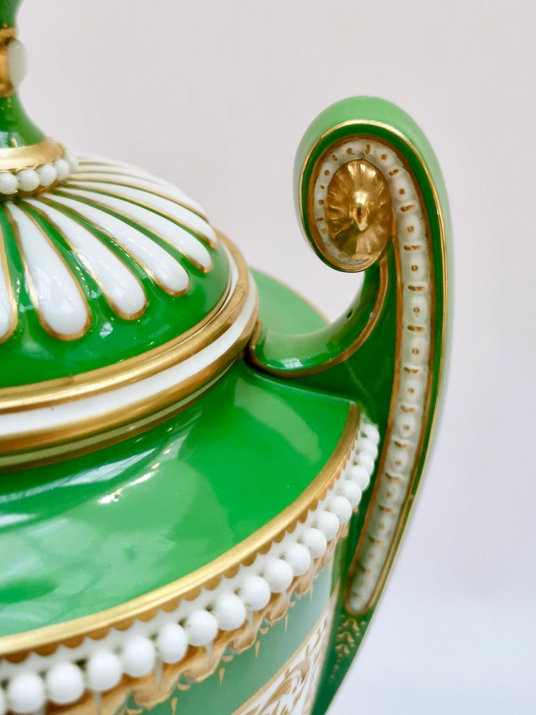 Royal Worcester 2 Porcelain Vases, Green Floral, Signed William Hawkins, 1907 For Sale 7