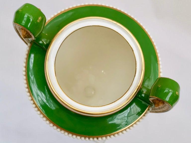 Royal Worcester 2 Porcelain Vases, Green Floral, Signed William Hawkins, 1907 For Sale 8